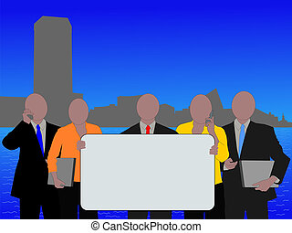 Baltimore skyline and business team