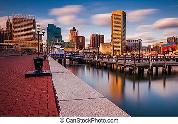 Baltimore Skyline and Promenade - Long exposure of the...