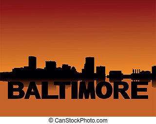 Baltimore skyline at sunset