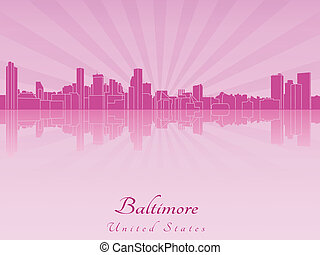 Baltimore skyline in purple radiant orchid in editable...