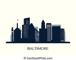 Baltimore skyline, monochrome silhouette.