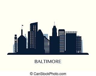 Baltimore skyline, monochrome silhouette.