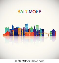 Baltimore skyline silhouette in colorful geometric style.