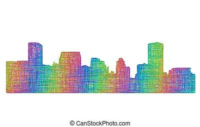 Baltimore skyline silhouette - multicolor line art