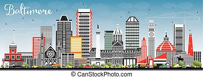 Baltimore Skyline with Gray Buildings and Blue Sky.
