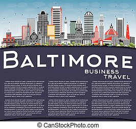 Baltimore Skyline with Gray Buildings, Blue Sky and Copy Space.