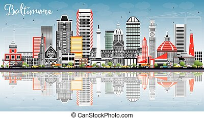 Baltimore Skyline with Gray Buildings, Blue Sky and Reflections.