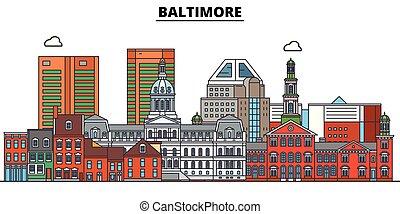 Baltimore, United States, flat landmarks vector illustration. Baltimore line city with famous travel sights, design skyline.