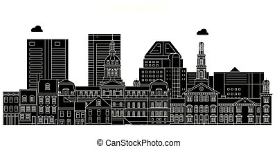 Baltimore, United States, vector skyline, travel illustration, landmarks, sights.