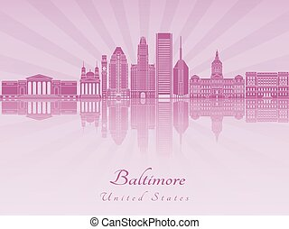 Baltimore V2 skyline in purple radiant orchid