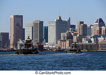 Baltimore Maryland waterfront on a bright sunny morning.
