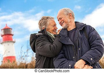 baltique, délassant, couple, mûrir, heureux, mer, dunes
