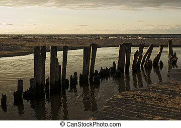 baltique, sur, coucher soleil, mer