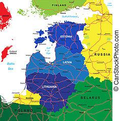 baltisch, kaart, staten