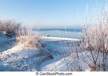 baltisch, sandstrand, winter, meer