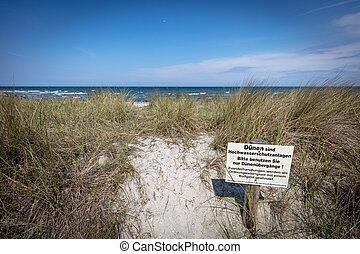 baltisch, warnung, steht, düne, zeichen