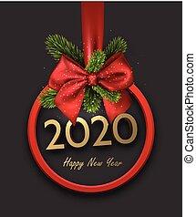 baluginante, bow., felice, anno, nuovo, raso, grigio, rotondo, nastro, 2020, fondo, cornice, bello, rosso, 3d