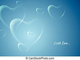 baluginante, cuori, su, sfondo blu