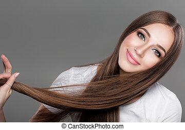 baluginante, hair., donna, lungo, diritto