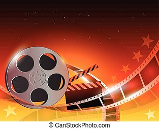 baluginante, illustrazione, striscia, fondo, bobina film, film, rosso