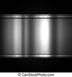 baluginante, piastra metallo, su, uno, carbonio, fibra, fondo