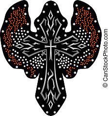 baluginante, tribale, disegno, croce