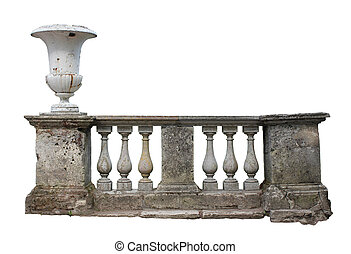 Baluster Railing - Abandoned ancient stone baluster railing...