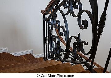 balustrade, bois, intérieur, escalier, métal
