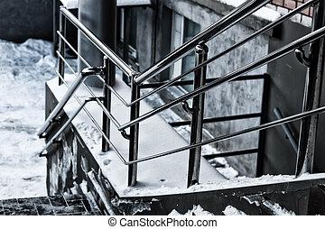 balustrade métal, escalier, étapes