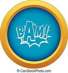 BAM, comic book bubble icon blue vector isolated on white...