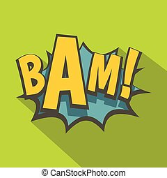 BAM, comic book explosion icon, flat style