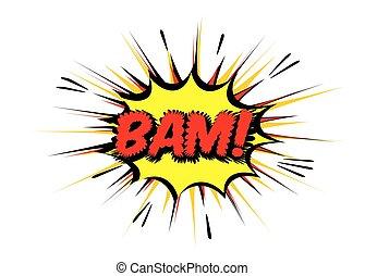 bam., illustration., couleur, vecteur, parole, comique, bulle