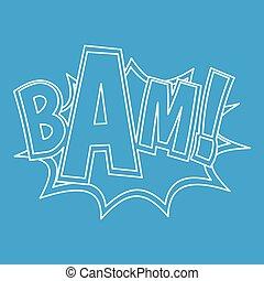 bam, style, explosion, contour, effet, icône
