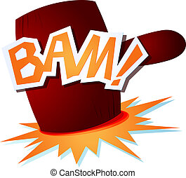 Bam! - onomatopoeic sound with a funny hammer. Vector image