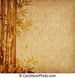 bambù, disegno, cinese, albero