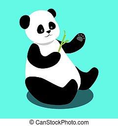 bambù, panda, ramo, seduta