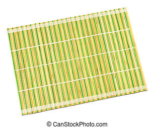 bambù, placemat, isolato, bianco