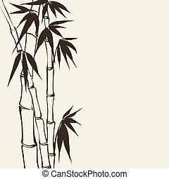 bambù, set, bandiera