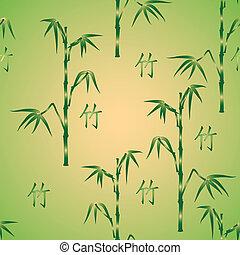 bambù, vettore, geroglifico, fondo, seamless