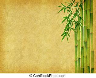bambú, en, viejo, grunge, antigüedad, papel, textura