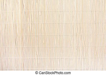 bambú, fondo beige, estera
