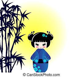 bambú,  kokeshi, muñeca