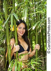 bambú, mujer, bosque, polynesian