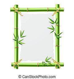 bambú, papel, marco, blanco