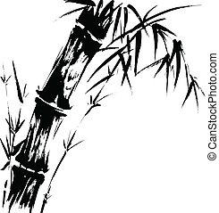 bambú, silueta, dibujo
