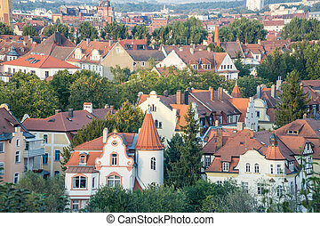 Bamberg cityscape at sunset in Bavaria, Germany.