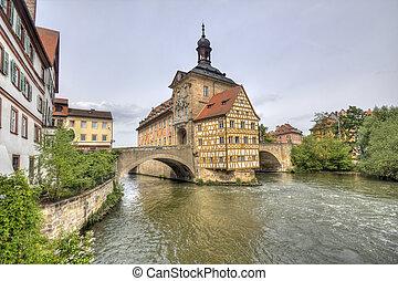 Historical city hall of Bamberg on the bridge across the river Regnitz, Germany