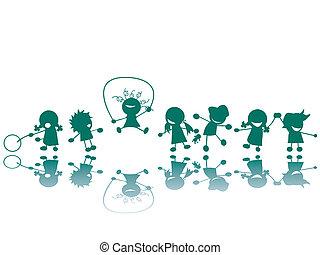 bambini, a, il, campo di gioco, silhouette