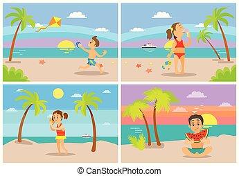 bambini, a, spiaggia, spiaggia, costiero, vacanze, appartamento, stile