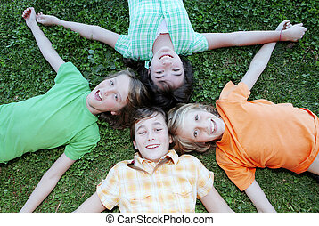bambini, accampamento estate, gruppo, felice